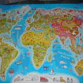 Детская настенная карта мира на украинском формат А1