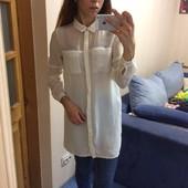 Крутая молочно-кремовая, шифоновая удлинённая рубашка