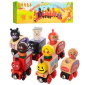 Поезд деревянный на магнитах, магнитный, животные