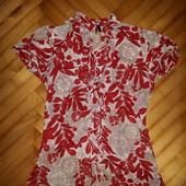 Батистовая блуза в цветочный принт от benetton! p.-s/m