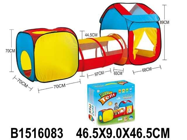 Палатка домик двойная с туннелем в кор.46,5*9,0*46,5см фото №1
