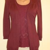 Нарядный кардиган-блуза Orsay с баской цвет марсала(бордовый) р.8-10