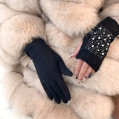Женские модные перчатки с митенками в стразах