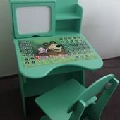 Парта с мольбертом, растущая + стульчик, Маша и Медведь Финекс+ 107