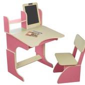 Парта с мольбертом растущая + стульчик, розовая, фирма Финекс+