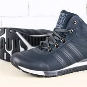 Мужские зимние спортивные ботинки на шнурках, синие, на меху из натуральной кожи