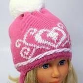 шапка демисезонная для девочки 46 50 см