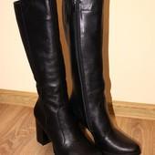 женские кожаные сапоги деми/зима код:ИН Классические сапоги из натуральной черной кожи