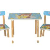 Деревянный столик со стульчиками 501-8 голубой мишка
