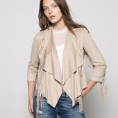 Пиджак куртка бахрома с бахромой под замш с ниспадающими лацканами в ковбойском стиле cток