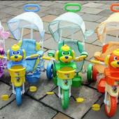 Велосипед детский трехколесный с ручкой Funny Dog и Little Duck