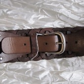 Ремень пояс кожаный коричневый широкий River Island (M)