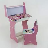 """Парта-пенал с полкой """"Микки Маус"""" цвет розовый (парта+1 стул), 690*450"""