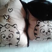 муфты рукавички с очаровательными котиками (в комплекте накладками на ручку коляски)
