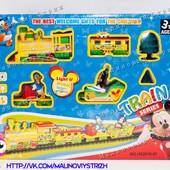 Железная дорога Микки Маус, музыка, свет, поезд + 3 вагона, деревья, Дональд Дак