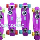Скейтборд/скейт пенни борд (Penny Board) пенни Fish со светящимися колесами: фиолетовый