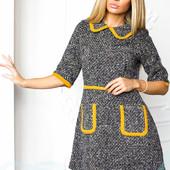 Приталенное платье букле