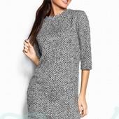 Мини платье букле деловое платье теплое красивое - прямой крой