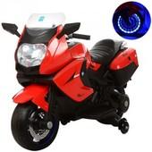 Детский мотоцикл M 3208EL-3 eva колеса+кожаное сиденье,кррасный