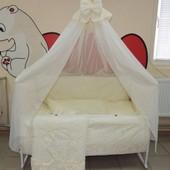 Жаккард Bonna 9 в 1 Детское постельное белье в кроватку бежевое
