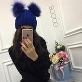 """Женская шапка """" Помпоны"""" Yulia. Разные цвета. Доставка 1-3 дня."""
