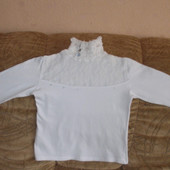 Белый нарядный гольфик девочке р.110-116 см.