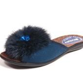 100-NC-26-004  женские домашние тапочки Inblu Инблу материал - велюр, цвет - синий