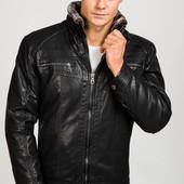 Кожаная мужская зимняя куртка