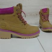 ботинки зимние в стиле Тимберленд Самеl Pink