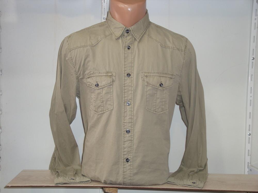 Мужская оливковая рубашка с длинным рукавом scout. фото №1