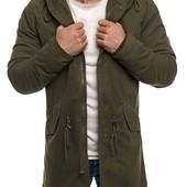 Мужская хлопоковая куртка парка с капюшоном