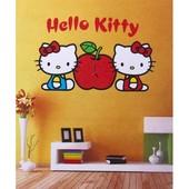 """Часы -  наклейки на стену """"Нello kitty"""""""