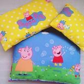 Подушечки декоративные, постельки для пупсов и кукол, отрезы ткани с рисунком Синка Пеппа.