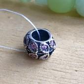 Пандора серебряная Шарм Роксолана розовая 3508