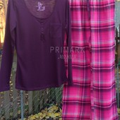 Женская пижама трикотаж + фланель. Размеры S, М. Primark