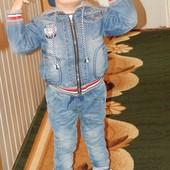 Джинсовый крутой пиджак-курточка-ветровка для мальчика 92р.