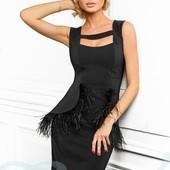 Платье с перьями вечернее эксклюзивное платье