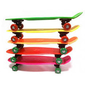 Скейт - пенни, 55-14,5см(пластик-антискол),пластик подвеска,колесаПВХ,подш608Z,6 цветов