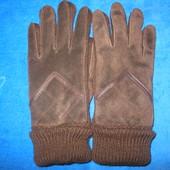 Очень тёплые перчатки, натуральный замш+вязка.