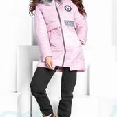 Куртка объемная с капюшеном экомехом розовая черная