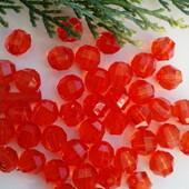 Бусины коралово-красный цвет   1см-30шт