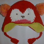 шапка вязанная на флисе на 3-12 мес