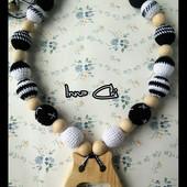 Черно-белые Слингобусы с деревянным прорезывателем