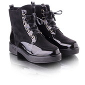 Короткие зимние ботинки с лаковыми вставками 11014