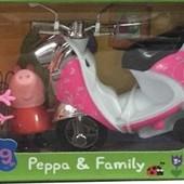 Игровой набор Свинка Пеппа , фигурки Пеппа и Мама Свинка + мотоцикл
