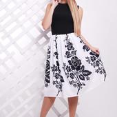 Платье Миранда Черные цветы/Белые листья