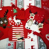 Прокат новогодние свитера, кофты с оленями family look, фемели лук.