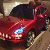 Электромобиль детский Porsche Macan вишнёвый, автопокраска Порш