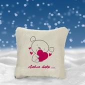 Декоративная сувенирная подушка с надписью, размер 25*25