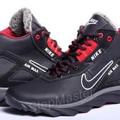 Кроссовки кожаные зимние Nike Air Max Black-Red